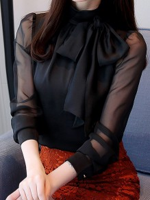 Black Bow Buttons Band Collar Long Sleeve Elegant Blouse