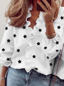 White Ruffle Star V-neck Long Sleeve Honey Girl Blouse