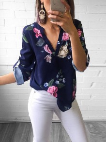 Blue Floral Print Deep V-neck Chiffon Long Sleeve Fashion Casual Blouses
