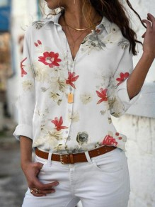 White Flowers Print Single Breasted V-neck Long Sleeve Casual Blouse