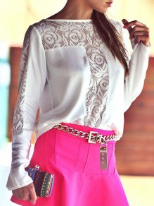 White Patchwork Lace Cut Out Long Sleeve Round Neck Bodycon Sweet Blouse