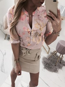 Pink Floral Buttons V-neck Elbow Sleeve Fashion Blouse