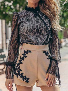 Black Patchwork Lace Bow Ruffle Band Collar Long Sleeve Blouse