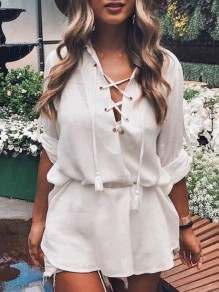 White Drawstring Lace-up High-low Bodycon Going out Blouse