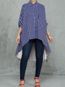 Blue White Striped Single Breasted Half Sleeve High-Low Fashion Blouse