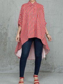 Red White Striped Single Breasted Half Sleeve High-Low Fashion Blouse