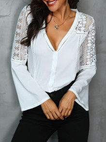 White Patchwork Lace V-neck Flare Sleeve Fashion Blouse