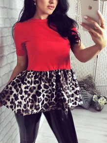 Red Round Neck Short Sleeve Patchwork Leopard Peplum Tutu Ruched Work Casual Cute Blouse