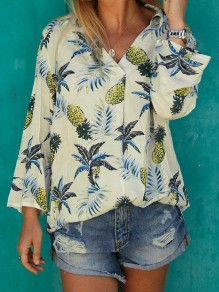 White Pineapple Floral Print V-neck Long Sleeve Fashion Casual Blouse