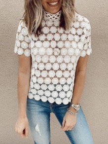 White Patchwork Lace Cut Out Band Collar Short Sleeve Fashion Blouse