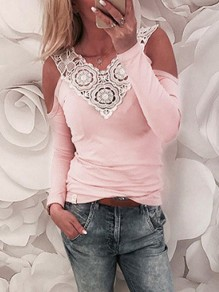 Pink Patchwork Lace Cut Out V-neck Long Sleeve Backless Blouse