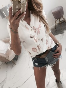 White Floral Single Breasted Bodycon Comfy Going out Blouse