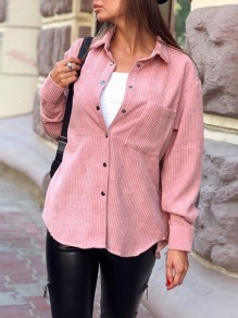Pink Single Breasted Pockets Turndown Collar Long Sleeve Corduroy Fashion Blouse