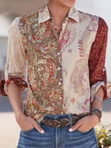 Khaki Floral Single Breasted Turndown Collar Long Sleeve Blouse