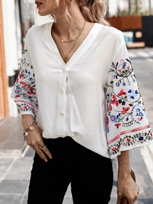 White Floral Single Breasted V-neck Flare Sleeve Fashion Mexican Blouse