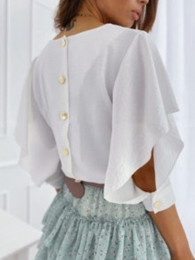 White Buttons Ruffle Cut Out V-neck Half Sleeve Fashion Blouse