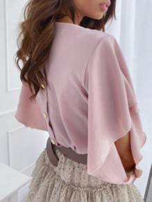 Pink Buttons Ruffle Cut Out V-neck Half Sleeve Fashion Blouse