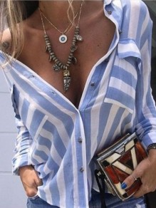 Blue Striped Print Single Breasted Pockets Long Sleeve Blouse