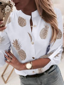 White Patchwork Pattern Buttons Long Sleeve Collarless Fashion Blouse