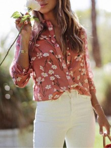 Pink Floral Print Buttons Turndown Collar Long Sleeve Fashion Blouse