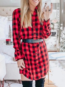 Red Plaid Single Breasted Turndown Collar Long Sleeve Fashion Blouse Dress