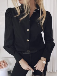 Black Single Breasted Turndown Collar Long Sleeve Fashion Blouse