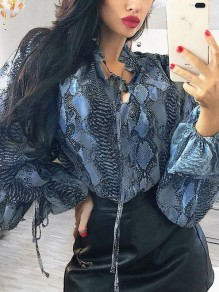Blue Snake Floral V-neck Lantern Sleeve Fashion Blouse