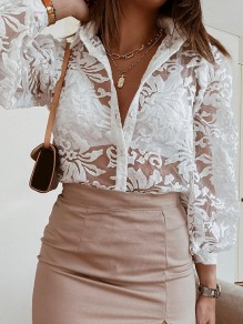 White Floral Button V-neck Long Sleeve Elegant Blouse