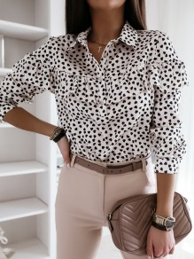 White Floral Single Breasted Ruffle Long Sleeve Fashion Blouse