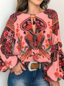 Pink Tribal Floral Print V-neck Long Sleeve Oversize Bohemian Blouse