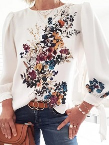 White Floral Round Neck Long Sleeve Oversize Elegant Blouse