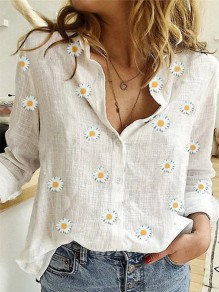 White Floral Pattern Buttons Turndown Collar Long Sleeve Fashion Blouse