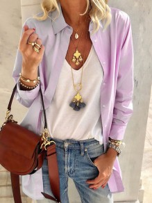Purple Patchwork Buttons Turndown Collar Long Sleeve Fashion Blouse