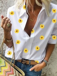 White Floral Daisy Print V-neck Long Sleeve Fashion Blouse
