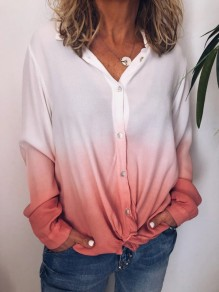 Pink White Gradient Color Single Breasted Long Sleeve Blouse