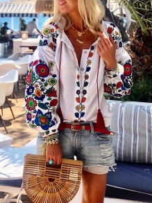 White Floral Embroidery Print V-neck Lantern Long Sleeve Mexico Blouse