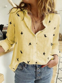 Yellow Animal V-neck Long Sleeve Casual Going Out Blouse