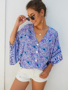 Blue Floral Buttons V-neck Flare Sleeve Bohemian Blouse