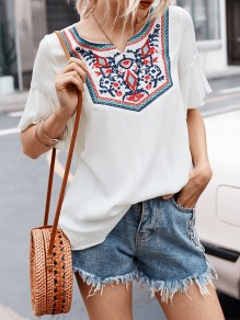 White Patchwork Embroidery Round Neck Short Sleeve Bohemian Blouse