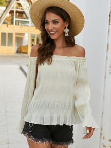 Apricot Pleated Off Shoulder Long Sleeve Fashion Blouse