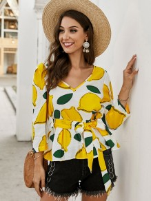 White Lemon Floral Sashes V-neck Fashion Peplum Blouse