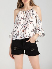 White Floral Cut Out Spaghetti Strap Flare Sleeve Fashion Blouse