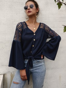 Sapphire Blue Patchwork Lace Buttons Bow Flare Sleeve Blouse