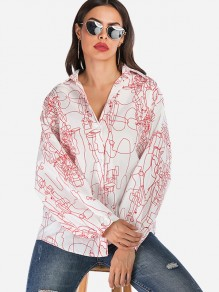 Black Floral Single Breasted Long Sleeve Fashion Blouse