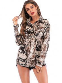 Brown Snake Floral Single Breasted Turndown Collar Long Sleeve Blouse