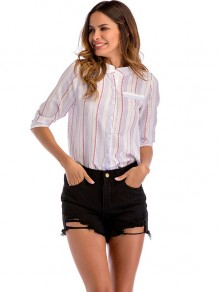 White Blue Striped Pockets Single Breasted Band Collar Blouse