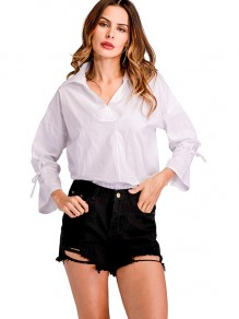 White Bow Turndown Collar Long Sleeve Fashion Blouse