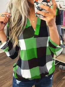 Green Plaid Print V-neck Long Sleeve Plus Size Casual Preppy Style Blouse