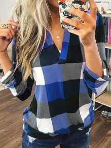 Blue Plaid Print V-neck Long Sleeve Plus Size Casual Preppy Style Blouse