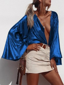 Blue Sequin Print Deep V-neck Flare Long Sleeve Glitter Sparkly Birthday Party Blouse